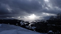 A Spot Of Sunshine (Daphne-8) Tags: sky himmel dark light sun sonne licht dunkel schnee snow neve nieve neige sneeuw donker cielo hemel lucht weather wetter alps alpi alpes alpen view hörnli vista landscape landschaft landschap paesaggio paisaje paysage mountains berge montañas montagnes switzerland suisse svizzera zwitserland schweiz svizra suiza suiça