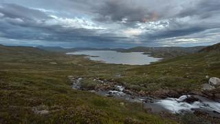 Stormy evening at the Vinstre lake in Valdresflye, Norway