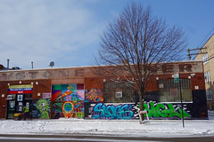 multi-purpose (KevinIrvineChi) Tags: albanypark chicago graffiti art mural keystone corner ecuador ecuadorian curbedchicago boingboing sony dscrx100 outdoors building tree snow ghost sign signs salting vest colorful alley