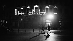Hotel Cairo Inn (Stefan Waldeck) Tags: street lights facade house windows sign people cars bw night shadows hotelcairoinn cairo egypt 2018 netzki stefanwaldeck stefan waldeck
