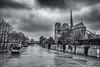 Here Comes The Flood (sdupimages) Tags: cathedral notredame noirblanc blackwhite sky bw crue seine paris street nuages clouds nb ciel fleuve river architecture cityscape urban ville city