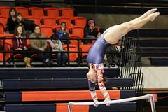 Gaining speed (RPahre) Tags: universityofillinois champaign illinois huffhall huff gymnastics karenhowell bars unevenparallelbars ncaa b1g bigten