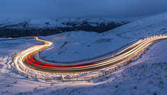 Road to Edale (Snap Tin) Tags: 2018 edale lighttrails road sbend england unitedkingdom gb night longexposure snow winter cars hills valley january cold landscape lowlight sony alpha a77