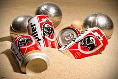Balls and Beer (IBU-TT.1) Tags: manipulation petanque balls beer bier blik sea sand zee zand