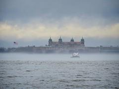Ellis Island in fog (Goggla) Tags: nyc new york harbor weather fog cloud ellis island goglog