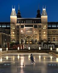 Iamsterdam Skate (JH Images.co.uk) Tags: amsterdam hdr dri night art architecture iamsterdam skater skating bluehour twilight holland ice iceskating