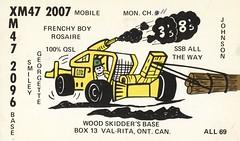 Frenchy Boy & Smiley - Val-Rita, Ontario (73sand88s by Cardboard America) Tags: qsl cb cbradio vintage qslcard ontario construction