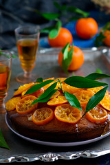 Madeira Cake with Caramelised Tangerines.selective focus (Zoryanchik) Tags: tangerine glaze cake food sweet background rustic delicious snack baked homemade biscuits dessert madeira caramelised english