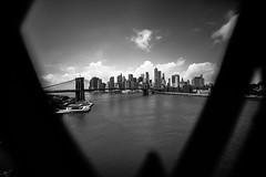 Peep Show (Jean Boris HAMON) Tags: america architecture blackwhite blackandwhite bridges brooklynbridge libertytower manhattan manhattanbridge newyork samyang14mmf28 samyanged14mmf28 sonya7mkii southmanhattan trip unitedstatesofamerica usa wideangle étatsunis us fav10