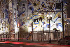 The Fair-Haired Dumbbell (Curtis Gregory Perry) Tags: portland oregon mural fairhaired dumbbell building architecture night long exposure art mlk martinlutherkingjr boulevard street traffic trail nikon d810 105mm