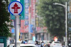 Fire Hydrant (Bob Hawley) Tags: asia taiwan kaohsiung nikond7100 nikon80200mmf28af cities streetscenes signs buildings trees firehydrants