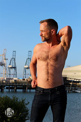 Braden (Levi Smith Photography) Tags: muscle dude pecs shirtless jeans jean beard water san francisco sanfrancisco harbor crane cranes man pose fashion abs hairy chest hair mens mans hot men eyes cute handsome gay
