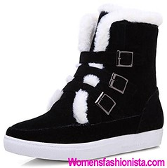 Summerwhisper Women's Trendy Buckle Straps Faux Suede Fleece Lined Short Snow Boots Shoes Round Toe Flats Ankle Booties Black 11 B(M) US (womensfashionista) Tags: 11 ankle black bm booties boots buckle faux flats fleece lined shoes short snow straps suede summerwhisper toe trendy womens