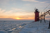 Sunset at South Haven, MI - EXPLORED #230 (Bruce Bugbee) Tags: lakemichigan southhaven michigan mi lake ice sky sunset lighthouse red clouds lakes greatlakes snow