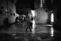 Rainy Night (Koprek) Tags: leicam2summaron35mm2 kodaktrix 1600 dubrovnik croatia film streetphotography nightlight rain cold wind december 2017