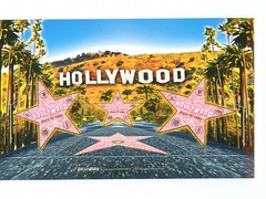 California - Glitter Pink Hollywood Stars - TO TRADE (bdsuss) Tags: california glitter postcard hollywood