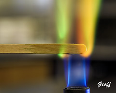 Burning copper metal solution (gwhiteway) Tags: chemistry flame metals salts colored chemical bunsen burner experiment science research education atomic spectroscopy ions wooden splint burning college university colorful bright fire elements incandescent flashes combustion inorganic chemist lab laboratory learning oxidizing oxidation carbon
