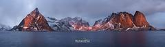 Crimson Peaks (http://www.richardfoxphotography.com) Tags: hamnoy norway lofotenislands sunrise mountains ocean fjords sea coastal panoroama olstinden festhelltinden