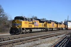 """Uncle Pete EMD Hotness"" NS 203 1/20/18 (tjtrainz) Tags: ns norfolk southern 203 intermodal train atlanta ga georgia division greenville south district up union pacific emd electro motive sd70ah sd70m armour yellow"