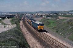 The Cornish Centurian II at Marazion (Kernow Rail Phots) Tags: kernow cornwall 50008 thunderer 50015 valiant class50 50s marazion saturday 4th may 1991 cornish centurian ii railtour manchester piccadilly friday bugle par class37 37673 1z16 sunny pullmans pullman coaches mk1 br blue dutch livery scenic penzance newquay minolta xd7 kodachrome trains locomotives hoovers