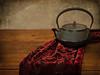 Teapot Variation (suzanne~) Tags: cutvelvet distressedefex ironteapot japanese teapot texture velvet stilllife tabletop