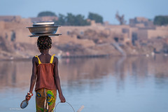 Young girl taking the family dishes for washing in the fetid waters of the Bani River - Djenne. Mali (Phil Marion (173 million views - THANKS)) Tags: mali africa sahel sahara tuareg muslim islam travel adobe philmarion philippemarion explored explore phil marion canon5diii 5d3 canon toronto canada candid architecture street portrait landscape wildlife nature bird urban flowers macro insect sony nikon fuji longexposure ontario upskirt