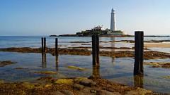 What remains (WISEBUYS21) Tags: whitleybay lighthouse coast sea waves blue sky posts jetty staithes rocks rock pool sand coastal island stmarys bait rule thirds horizon northumberland northshields north tyneside wisebuys21 water reflection reflections near newcastleupontyne whitley seal coastline ocean northumbria