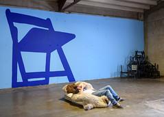 Bear Chair (-Dons) Tags: austin texas unitedstates chair man tx usa floor pelt bearskin painting wall eastaustinstudiotour east