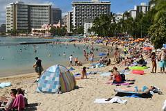 Crowded Waikiki Beach (trailwalker52) Tags: waikiki hawaii oahu beautiful beach tourist vacation sunbathing suntanning relaxing