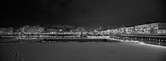 Helsinki (Antti Tassberg) Tags: allas 24mmts pool eteläranta yö talvi kauppatori bw cityscape panorama helsinki kaupunki 24mm blackandwhite city dark lens lowlight monochrome night nightscape prime tiltshift urban winter