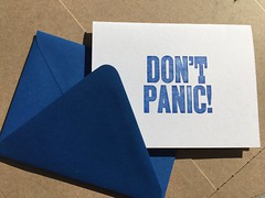 Don't panic with blue envelope (artnoose) Tags: source paper geek nerd scifi galaxy guide hitchhikers panic don't letterpress etsy card note greeting envelope blue royal