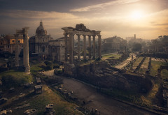 Roman Forum (Fran4Life) Tags: roma fran4life sunrise italy landscape cityscape ancient ruins architecture beautiful glow light columns green old 2000 dome skyline sun clouds blending processing art