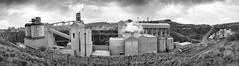 Tunstead Quarry (l4ts) Tags: landscape derbyshire peakdistrict whitepeak buxton tunstead tunsteadquarry buildings architecture cementworks tarmac panorama blackwhite monochrome seleniumtoning