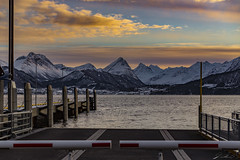 Waiting for the ferry (©jforberg) Tags: norway norge ferry sunrise mountain mountains fjord fjords scandinavia winter snow