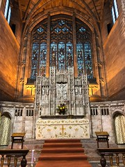 High altar (BiggestWoo) Tags: sandstone windows window glass stained marble stone altar cheshire heavily george's george saint church stockport