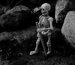 (claudine6677) Tags: pose skeleton skull bones toy toys skelett spielfigur spielzeug knochen tod reaper axt schwarzweis schwarz weis black white