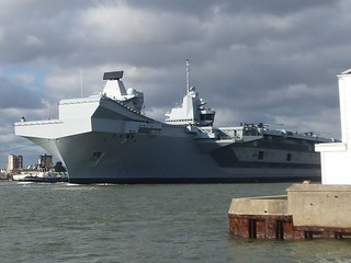 HMS QE leaving Portsmouth for 1st time since she was commissioned
