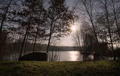 Wintersee (jan.arnds) Tags: winter frozen cold water lake boat bridge gras trees landscape sun february