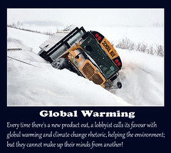 Global Warming or Climate Change? (sundawncer) Tags: globalwarming climatechange lies davidsuzuki nature quotes quotation schoolbus accident snowstrom freezingweather snowbank yellow bus road meme