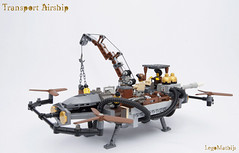 01_Transport_Airship (LegoMathijs) Tags: lego moc legomathijs steampunk mine transport airship crane cargo pickaxe ore trade propellors steampowered space scifi minifig exhaust miners mining discovering discovery