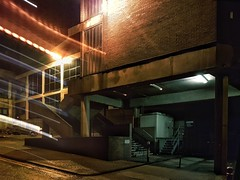 Quiet January streets (GDDigitalArt) Tags: scotland street urban city doubleexposure stone concrete walls building builtup stair alley night
