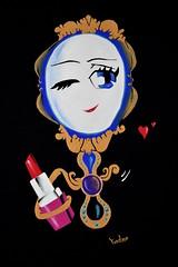 Vision d'ensemble du tableau (fannytondeur) Tags: acrylic painting peinture acrylique illustration cartoon mirror miroir lipstick rouge à lèvres eyes yeux bleu blue noir black gold or doré red pink rose beauty beauté étrange strange funny drôle marrant