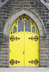 Yellow Church Door (a56jewell) Tags: a56jewell door yellow church waterford ontario