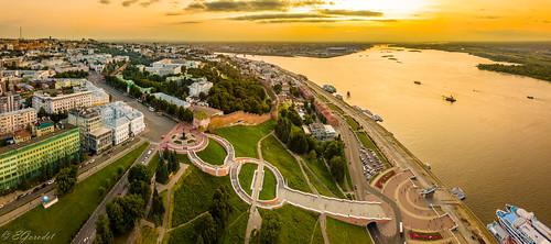 Panorama of the Chkalovskaya staircase and Kremlin at sunset