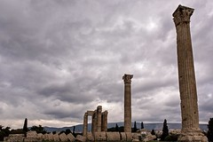 Temple of Zeus, Athens (jeremyhughes) Tags: athens greece temple zeus templeofzeus ruins columns column sky clouds overcast winter wintry city cypresses ancient historical classical architecture culture heritage nikon d750 nikkor 2470mmf28g