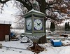 10:10 (Rob Patzke) Tags: clock time junk lx100 antique lumix junkyard blue tree hands fence snow rust