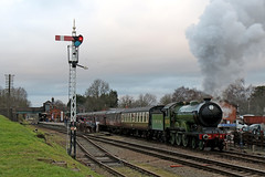 Quorn and Woodhouse departure (Andrew Edkins) Tags: 8572 lner b12class quornandwoodhouse railwaystation railwayphotography travel trip steamtrain steamgala greatcentralrailway geotagged canon passengerservice light afternoon people semaphoresignal departure england uksteam