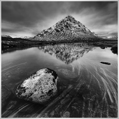 Buachaille from River Coupall (rossifanmark) Tags: coupall lines lead leading wet rocks stone tourism uk tranquil peaceful calm highlands pro efex silver white black monochrome mono water stream reflections river mor etive buachaille scotland
