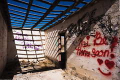 hai (Tomás Harrison Fotos) Tags: tx ghosttown d750 landscape mountains grafitti thefinger stripmall abandoned ruins highway saltflats availablelight afnikkor24mmf28d architecture guadalupemountains mountaintime building ushwy62 nikon austin usa