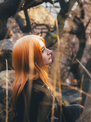 Elizabeth Sees Off The Sun (mikhailkorzhalov) Tags: canon sigma sigma1750 50mm f28 5028 redhead sunset sunsetlight redhair longhair naturallight nature outdoors girl female model lady beautiful beautifulgirl skin handsome bokehportrait portrait bokeh woman pretty young adult sensual cute cutegirl orange branches trees